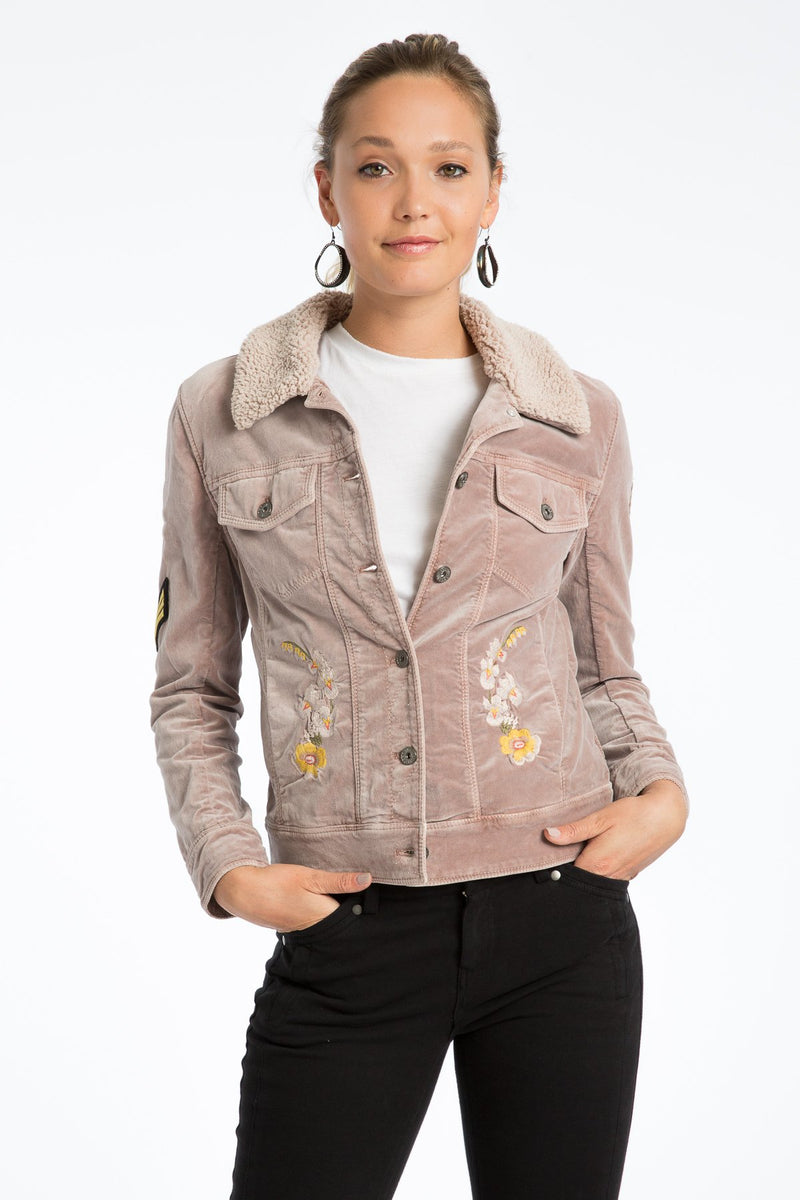 Janie 60's Velveteen Embroidered Jacket - Marrakech Clothing