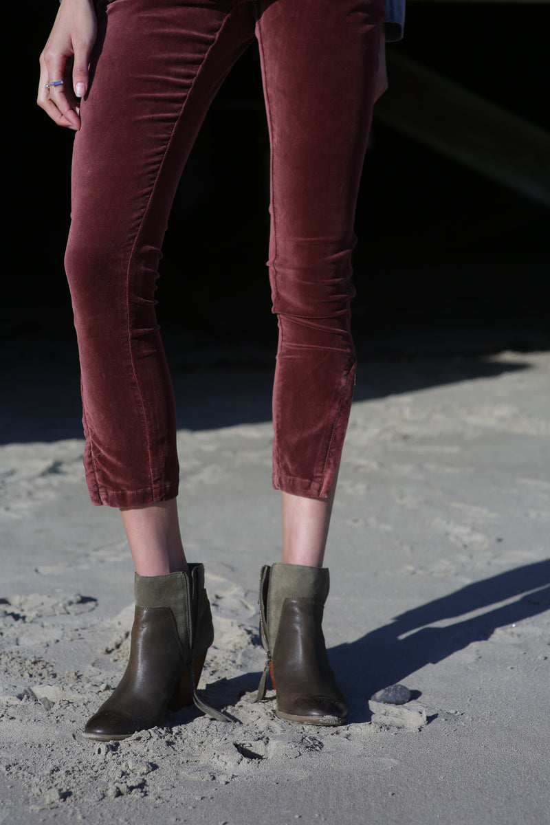 Joel High-Rise Velvet Skinny Ankle Jeans - Marrakech Clothing