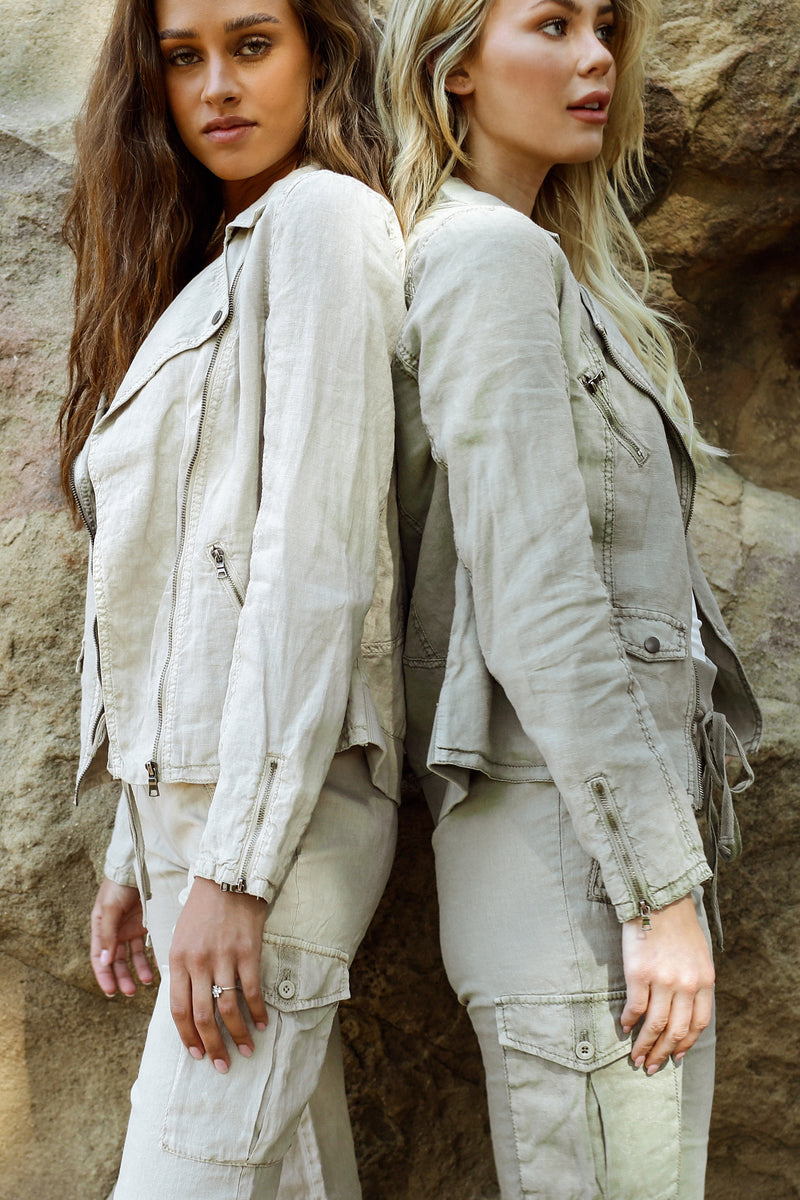Aspen Linen Moto Jacket - Marrakech Clothing