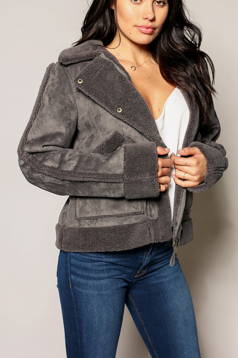 Tiana Aviator Sherpa Coat - Marrakech Clothing