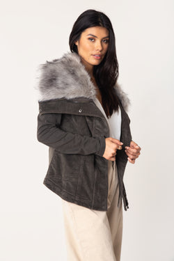 Kym Cord Fur Wrap Jacket - Marrakech Clothing