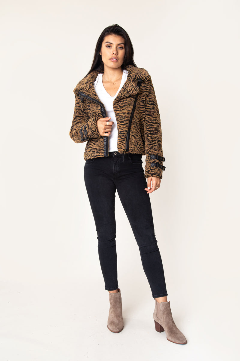 Vera Sherpa Moto Jacket - Marrakech Clothing