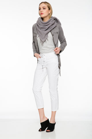 Sia Pant White Upstate lace-up crops