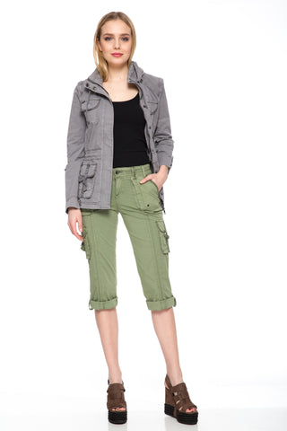 Tess Capri Pant Oil Green