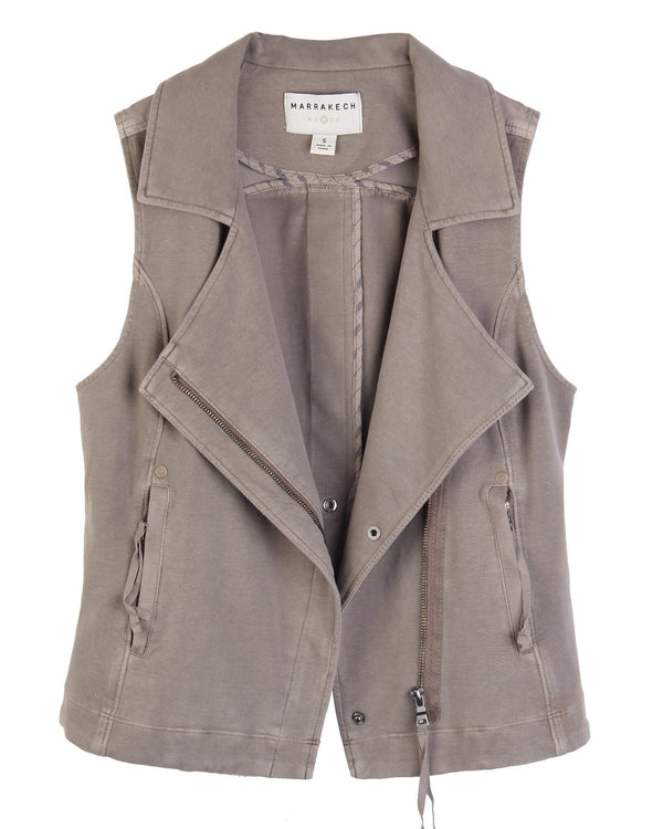 Scarlett Knit Moto Vest - Marrakech Clothing