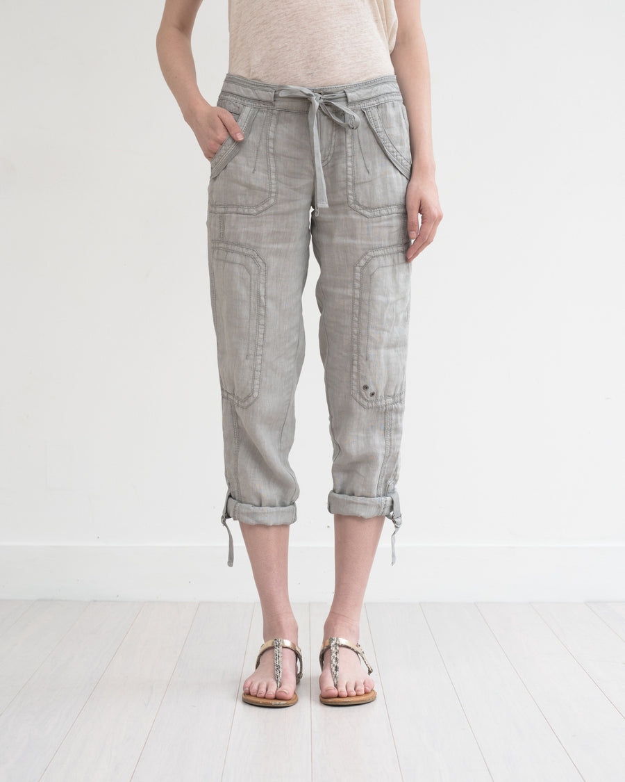 Ali Roll-up linen utility pant - cloud