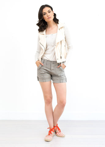 Scarlett Knit Moto Vest - Antique White