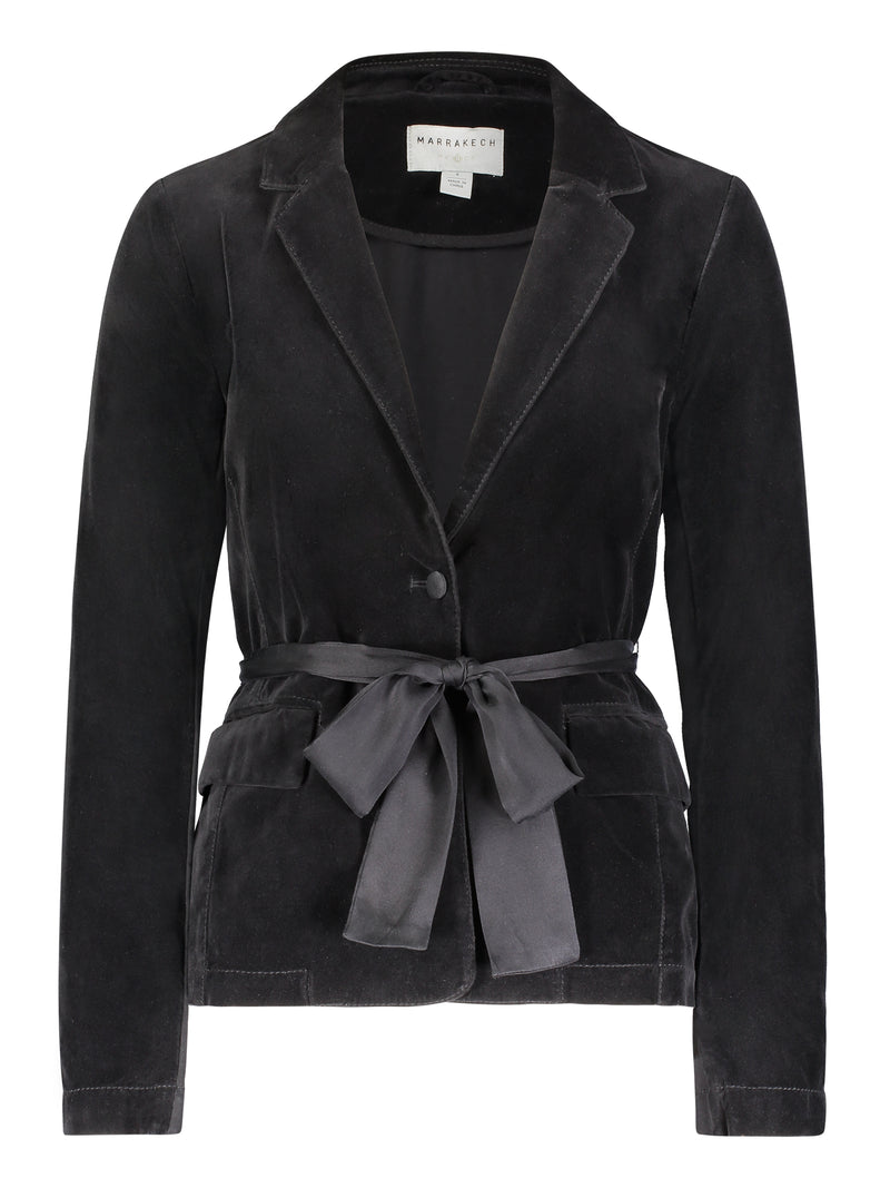 Denise Belted Velvet Blazer - Marrakech Clothing