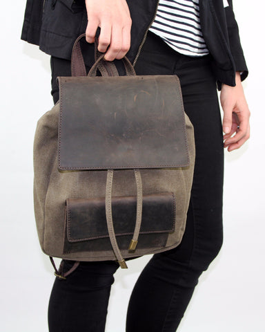 Booker Leather Canvas Backpack - Dusty Fern