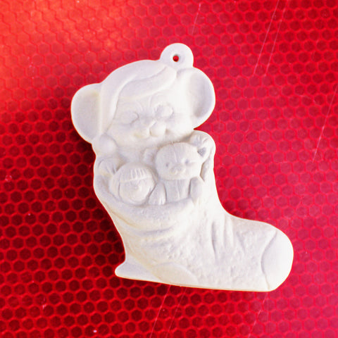 "Adorable Mouse In Stocking Christmas Ornament 3.1"" Ready to Paint Pottery Ceramic Bisque"