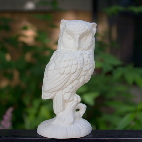 "Perched Owl Detailed 5"" Ready to Paint Ceramic Bisque"