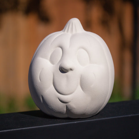 "Small Happy Pumpkin Head 3.5"" Ready to Paint Ceramic Bisque"