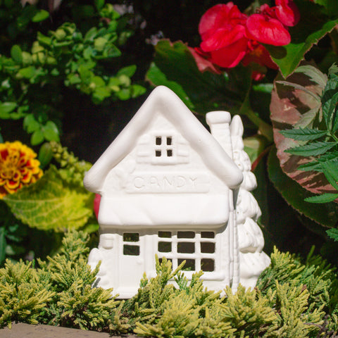"Candy Shop House 4.75"" Ready to Paint Ceramic Bisque"