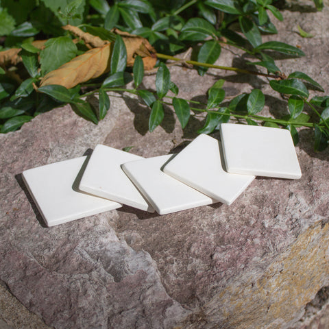 "Smooth Square Tiles 2"" Set of 5 Ready to Paint Ceramic Bisque"