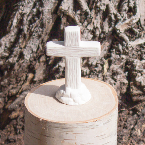 "Cross on Rocks 3.3"" Ready to Paint Ceramic Bisque"