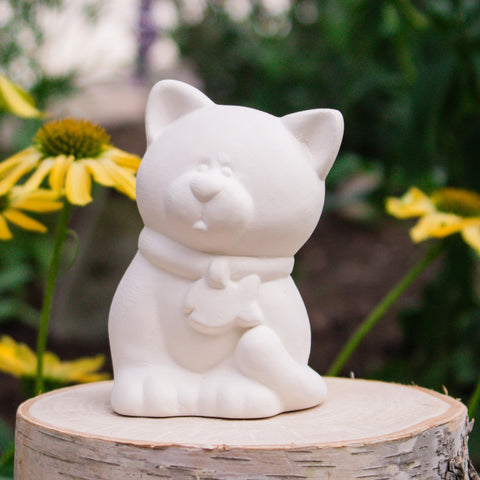 "Cute Kitty With Fish Collar 3.1"" Ready to Paint Ceramic Bisque"
