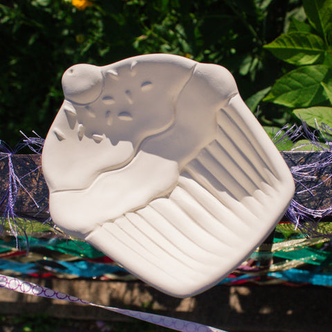 "Cupcake Dish Soap Bowl 5.2"" Ready to Paint Ceramic Bisque"