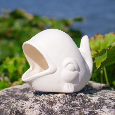 "Cute Small Whale Open Mouth 3.5"" Ready to Paint Ceramic Bisque"