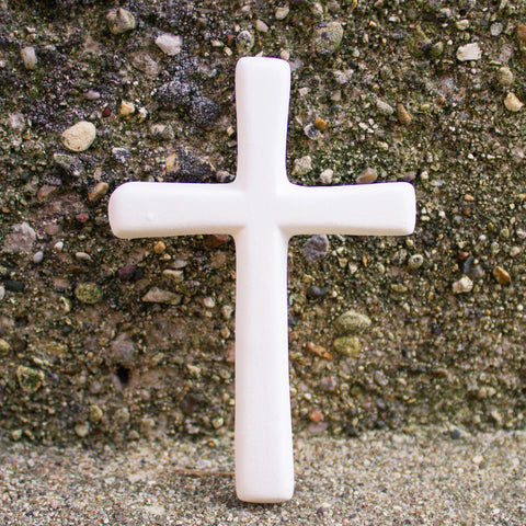 "Elegant Thin Cross Ornament 3.4"" Ready to Paint Ceramic Bisque"