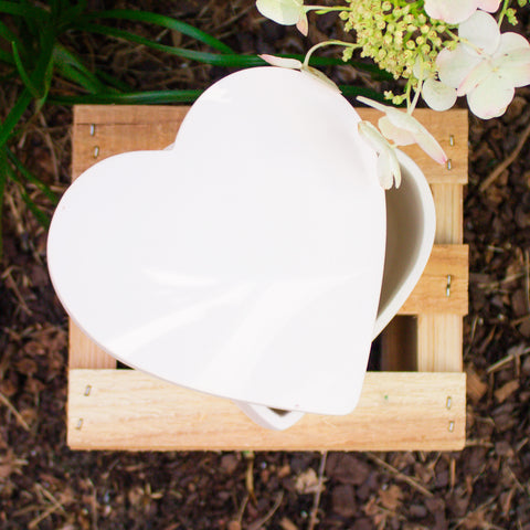 "Smooth Heart Box 5"" Ready to Paint Pottery Ceramic Bisque"