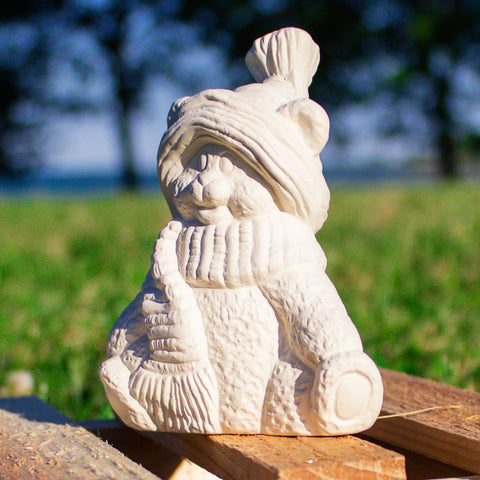 "Winter Sitting Teddy Bear 4"" Ready to Paint Pottery Ceramic Bisque"