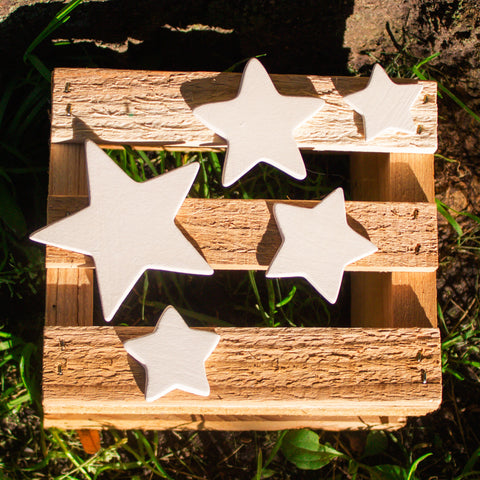 "Smooth Star - Set of 5 - 3"" Ready to Paint Ceramic Bisque"