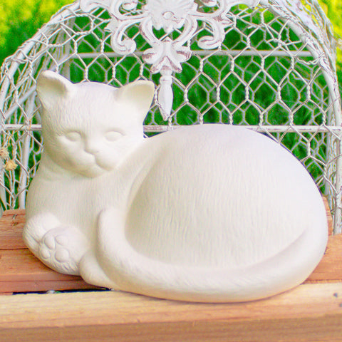 "Relaxing Cat 6"" Ready to Paint Pottery Ceramic Bisque"