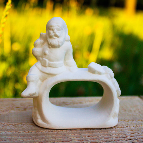 "Santa and Holly Napkin Ring 2.6"" Ready to Paint Pottery Ceramic Bisque"