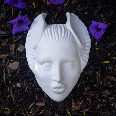 "Valkyrie Lady Mask 8.5"" Ready to Paint Ceramic Bisque"