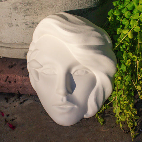 "Lady With Flower Mask 8.1"" Ready to Paint Ceramic Bisque"