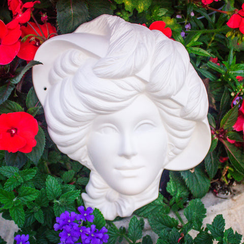 "Hatted Victorian Lady With Bow Tie Mask 9.5"" Ready to Paint Ceramic Bisque"