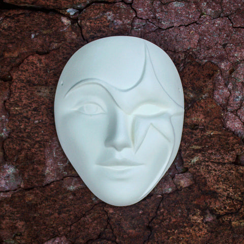 "Star Lady Mask 6.7"" Ready to Paint Ceramic Bisque"