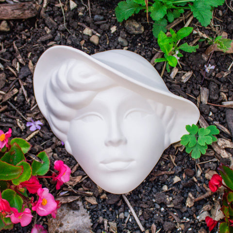 "Lady With Sunhat Mask 8.5"" Ready to Paint Pottery Ceramic Bisque"