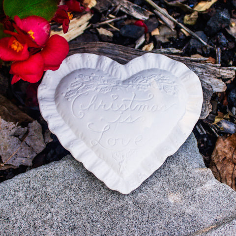 "Small Christmas Heart Pillow 4.1"" Ready to Paint Pottery Ceramic Bisque"