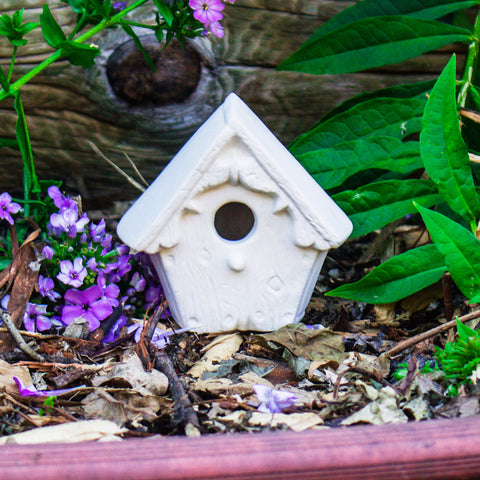 "Cute Small Birdhouse 4"" Ready to Paint Pottery Ceramic Bisque"