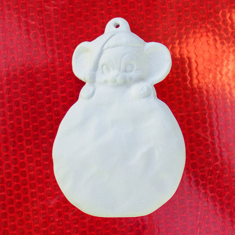 "Cute Mouse On Ball Christmas Ornament 3.4"" Ready to Paint Pottery Ceramic Bisque"