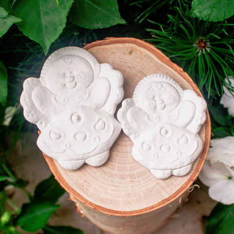 "Cute Gingerbread Girls - Set of 2 - Christmas Ornament 3.1"" Ready to Paint Pottery Ceramic Bisque"