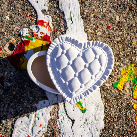 "Detailed Heart Pillow Box 5.5"" Ready to Paint Pottery Ceramic Bisque"
