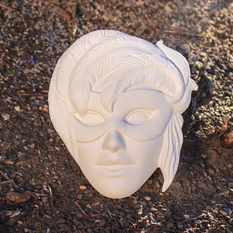 "Masquerade Lady Mask 8"" Ready to Paint Pottery Ceramic Bisque"