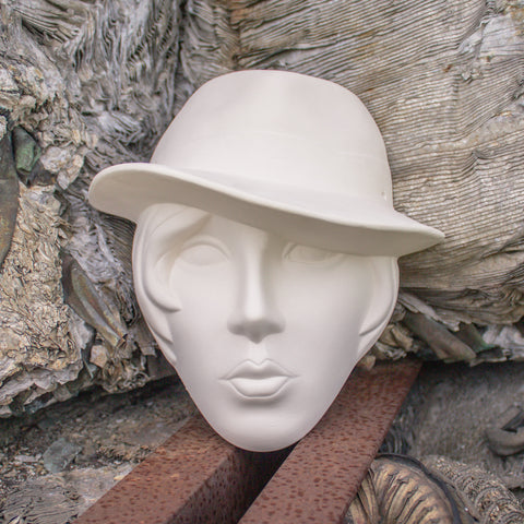 "Lady With Fedora Hat Mask 7.5 "" Ready to Paint Pottery Ceramic Bisque"