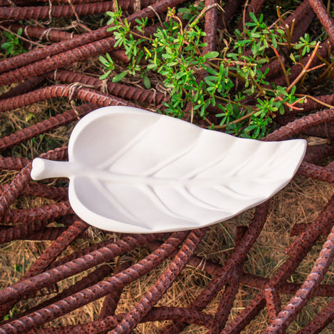 "Lovely Leaf Soup Spoon Holder 10.4"" Ready to Paint Pottery Ceramic Bisque"