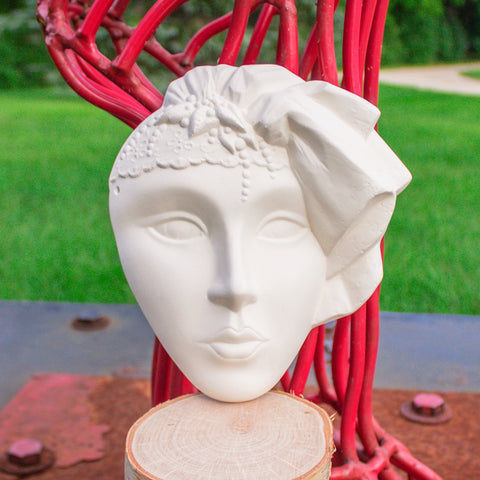 "Lady Mask With Decorative Headdress 7.4"" Ready to Paint Pottery Ceramic Bisque"