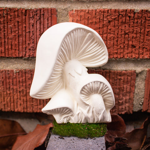"Cute Wall Mushroom Cluster 4.6"" Ready to Paint Pottery Ceramic Bisque"