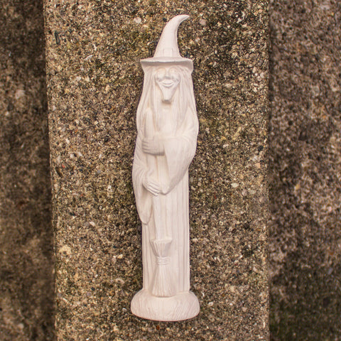 "Standing Witch With Broom 7.5"" Ready to Paint Pottery Ceramic Bisque"