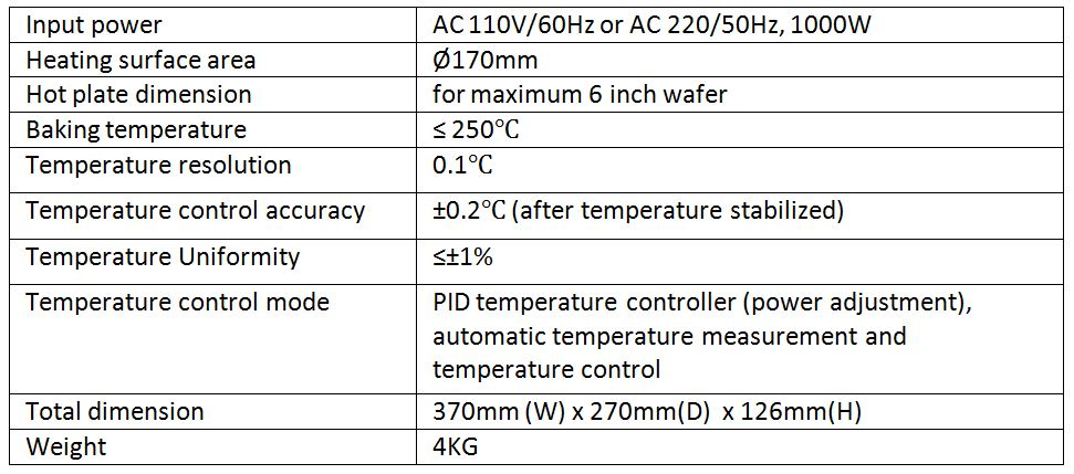 Technical specifications of hot plate HP-VG170