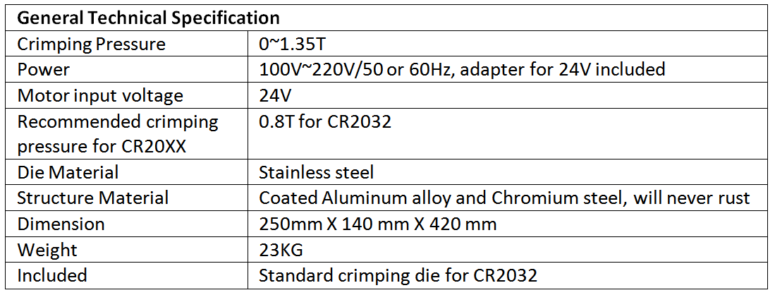 technical specification of Electric coin cell crimping