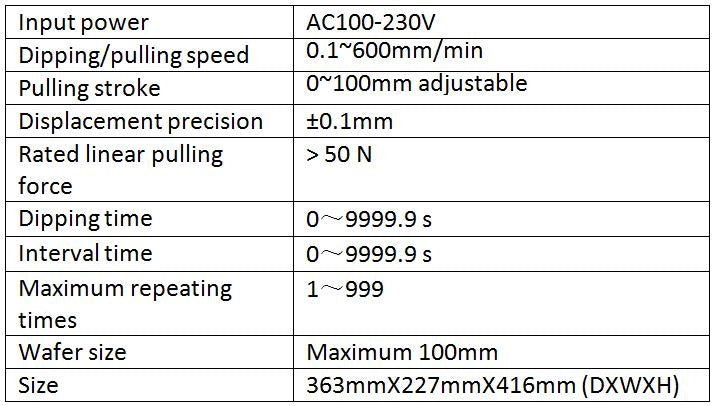 Dip Coater - DIPC-100 Technical specifications