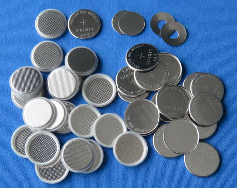 CR2032 SS 304 Coin Cell Case set, incl. top cover, bottom container, spacer, and spring  - 100sets/pack