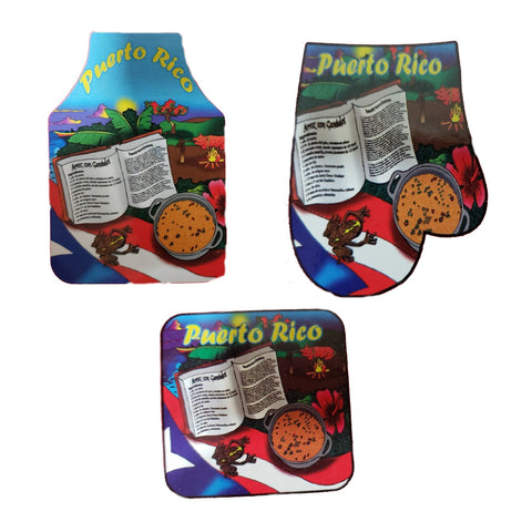 Apron, Hand and Square Cooking Mitt Combo, Arroz con Gandules Recipe
