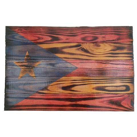 Puerto Rico Flag, Burnt Wood